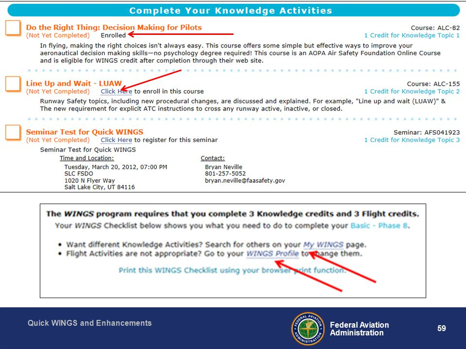 59 Federal Aviation Administration Quick WINGS and Enhancements