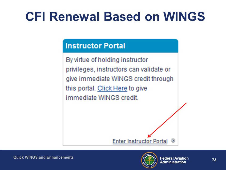 73 Federal Aviation Administration Quick WINGS and Enhancements CFI Renewal Based on WINGS