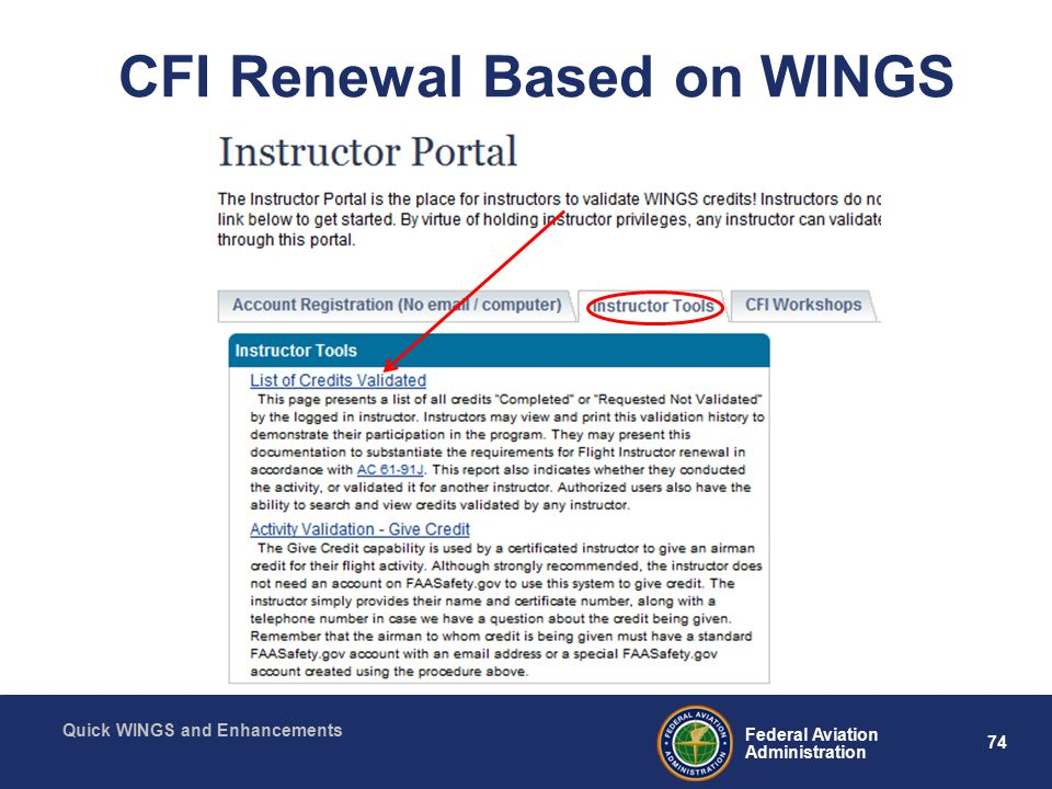 74 Federal Aviation Administration Quick WINGS and Enhancements CFI Renewal Based on WINGS