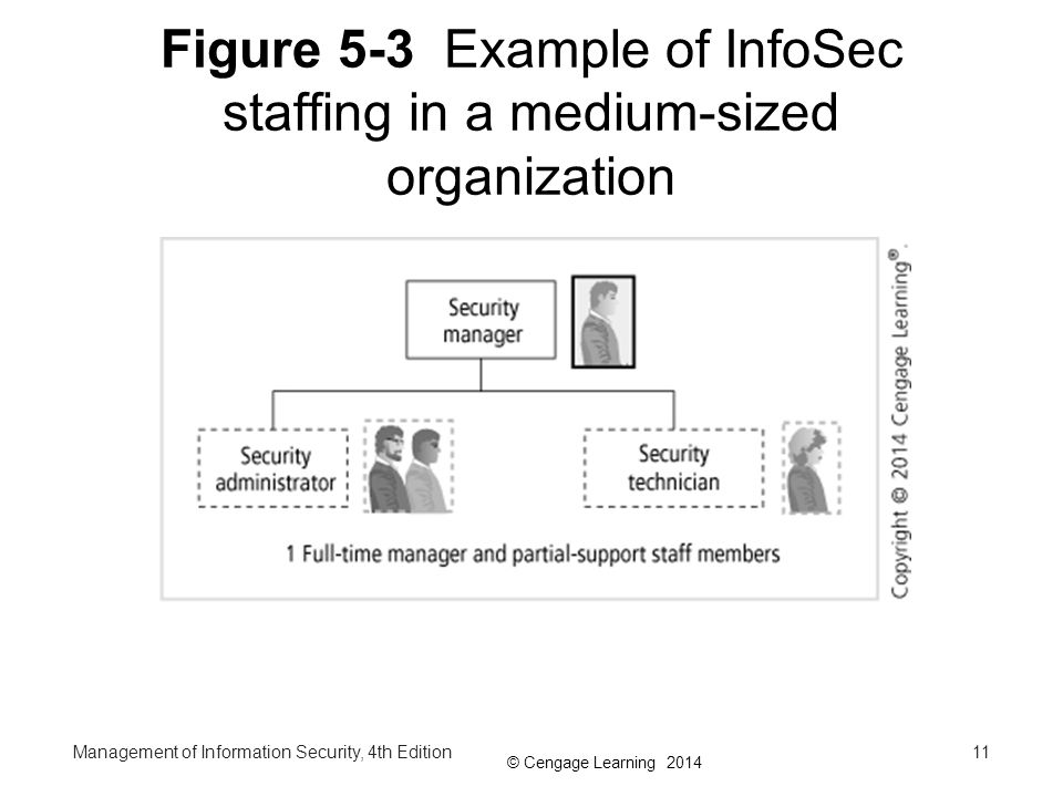 © Cengage Learning 2014 Figure 5-3 Example of InfoSec staffing in a medium-sized organization Management of Information Security, 4th Edition11