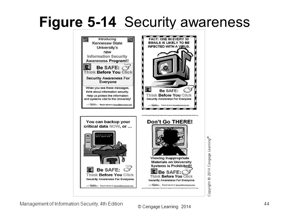 © Cengage Learning 2014 Figure 5-14 Security awareness components: posters Management of Information Security, 4th Edition44