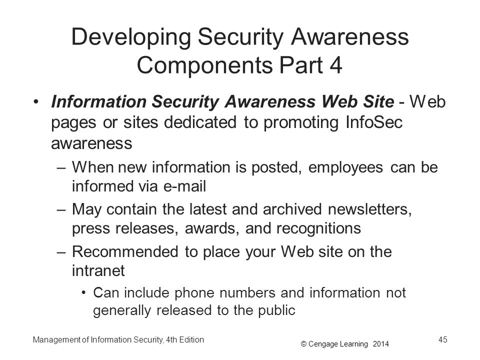 © Cengage Learning 2014 Developing Security Awareness Components Part 4 Information Security Awareness Web Site - Web pages or sites dedicated to prom