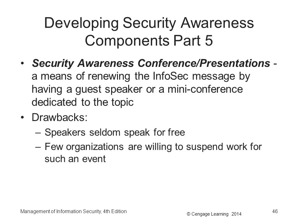 © Cengage Learning 2014 Management of Information Security, 4th Edition Summary The term InfoSec program is used to describe the structure and organization of the effort that contains risks to the information assets of an organization In large organizations, specific InfoSec functions are likely to be performed by specialized groups –In smaller organizations, these functions may be carried out by all members of the department InfoSec positions can be classified into one of three areas: those that define, those that build, and those that administer The SETA program is the responsibility of the CISO 47