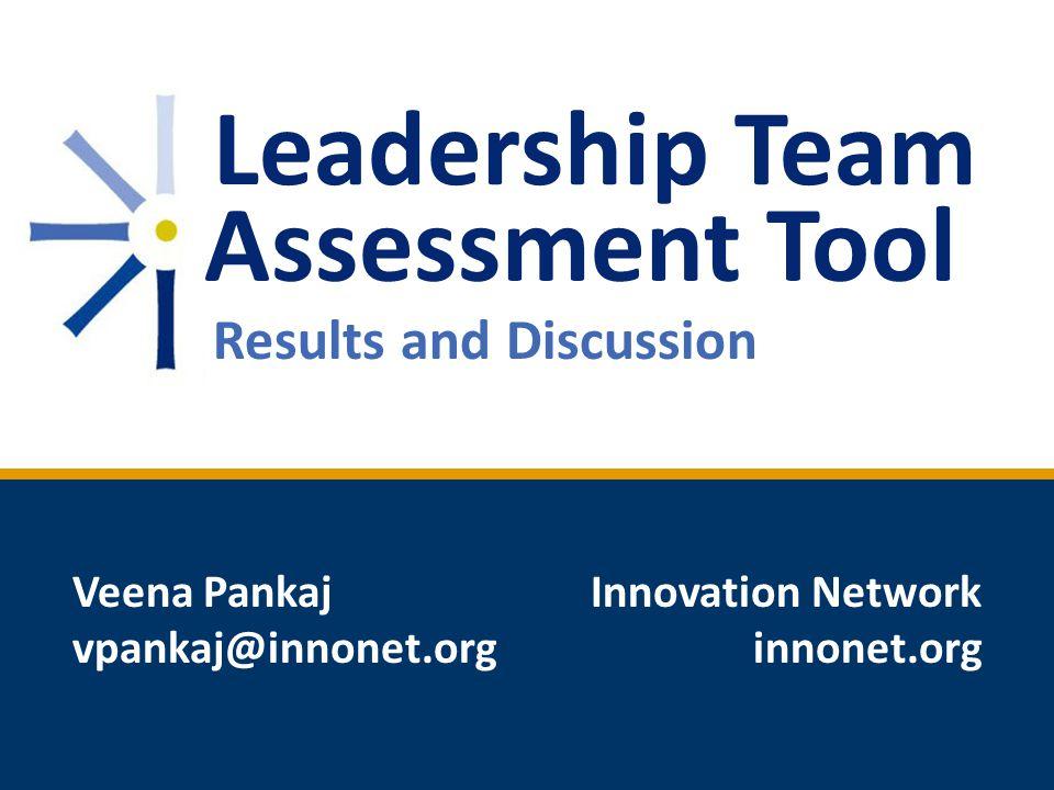 Leadership Team Assessment Tool Results and Discussion Veena Pankaj vpankaj@innonet.org Innovation Network innonet.org