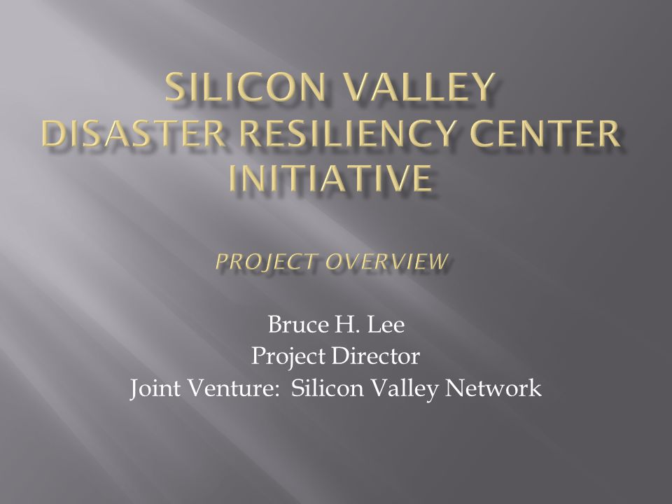 Bruce H. Lee Project Director Joint Venture: Silicon Valley Network