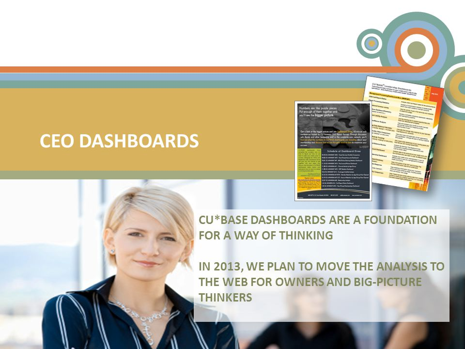 CEO DASHBOARDS CU*BASE DASHBOARDS ARE A FOUNDATION FOR A WAY OF THINKING IN 2013, WE PLAN TO MOVE THE ANALYSIS TO THE WEB FOR OWNERS AND BIG-PICTURE THINKERS