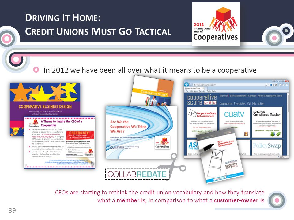 D RIVING I T H OME : C REDIT U NIONS M UST G O T ACTICAL  In 2012 we have been all over what it means to be a cooperative CEOs are starting to rethink the credit union vocabulary and how they translate what a member is, in comparison to what a customer-owner is 39