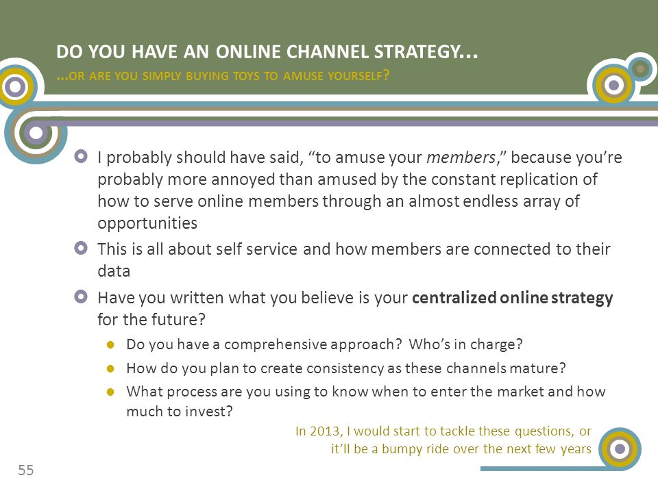 DO YOU HAVE AN ONLINE CHANNEL STRATEGY...... OR ARE YOU SIMPLY BUYING TOYS TO AMUSE YOURSELF .