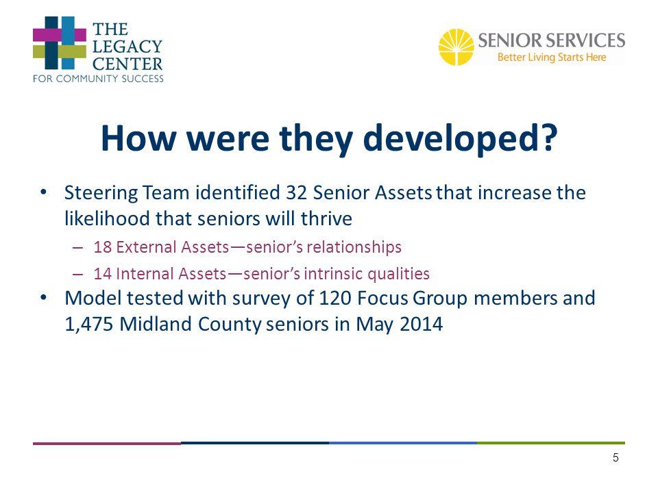 Steering Team identified 32 Senior Assets that increase the likelihood that seniors will thrive – 18 External Assets—senior's relationships – 14 Inter