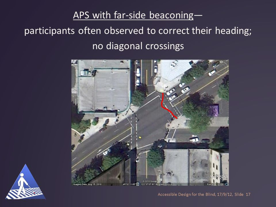 Standard APS--participants tended to veer out of the crosswalk, and did not successfully correct their heading; some diagonal crossings Accessible Des