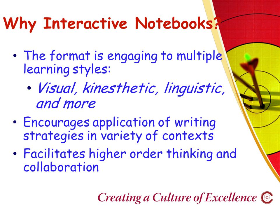 Benefits over time… Notebooks become a portfolio on individual learning and a record of each student's growth.