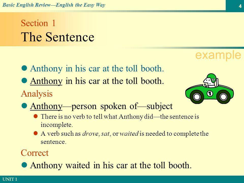 © SOUTH-WESTERN PUBLISHING Basic English Review—English the Easy Way UNIT 1 4 Section 1 The Sentence Anthony in his car at the toll booth.