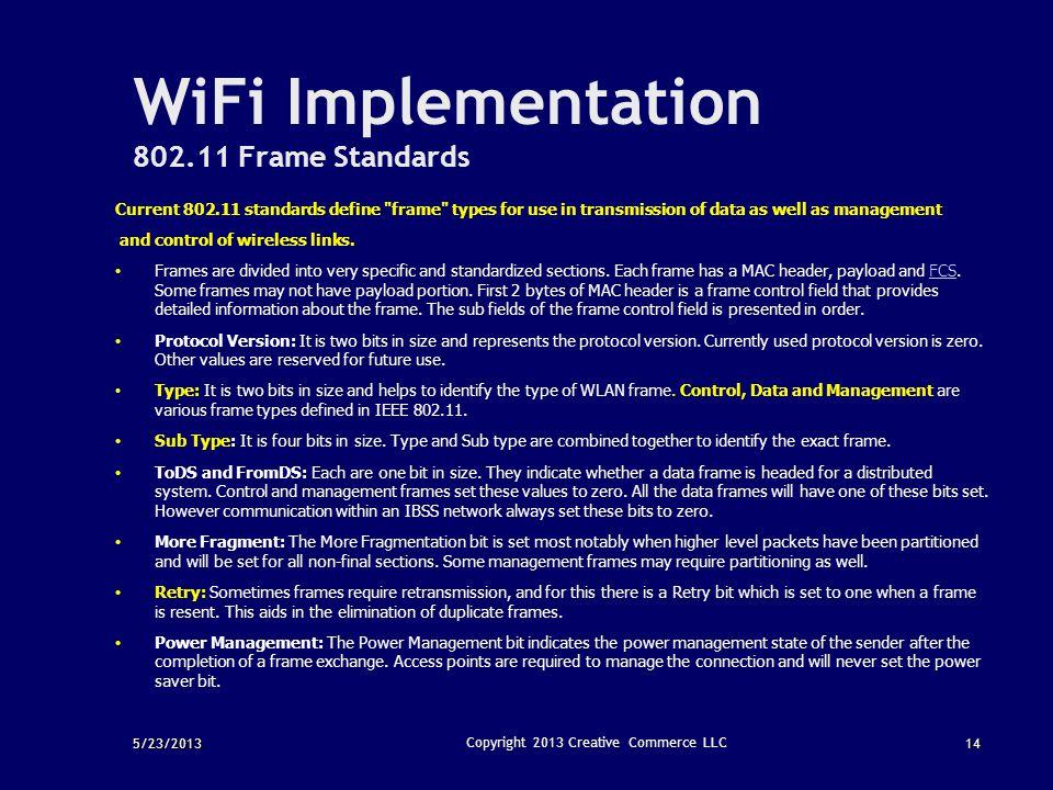 5/23/201314 Copyright 2013 Creative Commerce LLC WiFi Implementation 802.11 Frame Standards Current 802.11 standards define