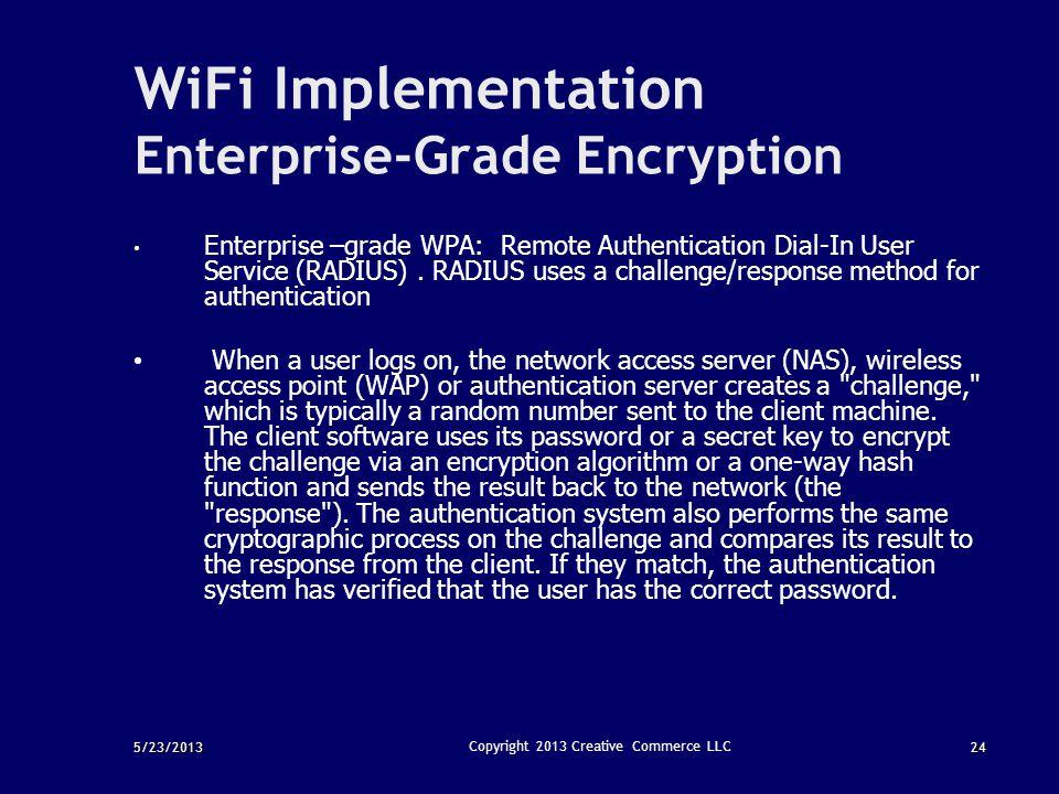 5/23/201324 Copyright 2013 Creative Commerce LLC WiFi Implementation Enterprise-Grade Encryption Enterprise –grade WPA: Remote Authentication Dial-In