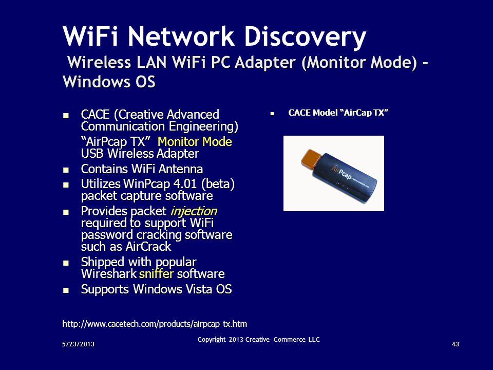 43 Copyright 2013 Creative Commerce LLC Wireless LAN WiFi PC Adapter (Monitor Mode) – Windows OS WiFi Network Discovery Wireless LAN WiFi PC Adapter (