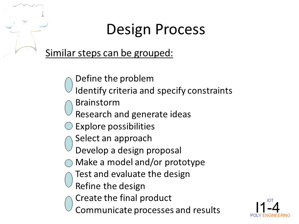 IOT POLY ENGINEERING I1-4 Similar steps can be grouped: Define the problem Identify criteria and specify constraints Brainstorm Research and generate ideas Explore possibilities Select an approach Develop a design proposal Make a model and/or prototype Test and evaluate the design Refine the design Create the final product Communicate processes and results Design Process