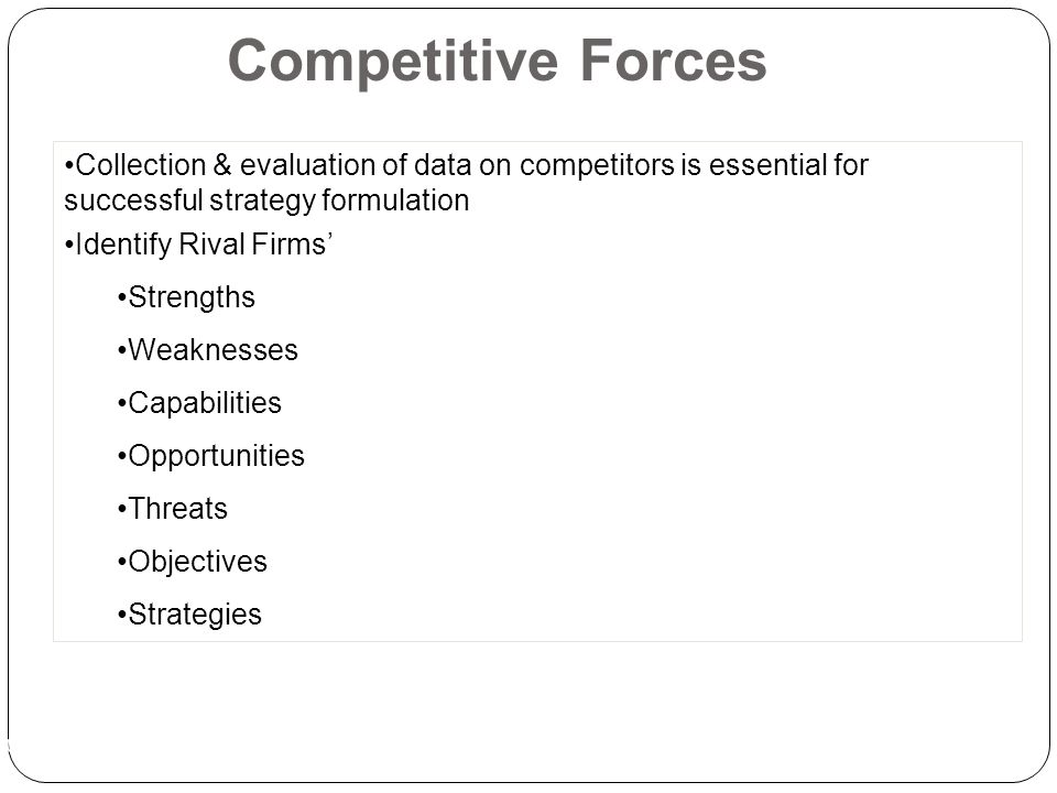 Ch 3 -43 Competitive Forces Collection & evaluation of data on competitors is essential for successful strategy formulation Identify Rival Firms' Strengths Weaknesses Capabilities Opportunities Threats Objectives Strategies