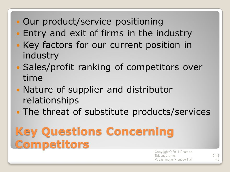 Key Questions Concerning Competitors Our product/service positioning Entry and exit of firms in the industry Key factors for our current position in industry Sales/profit ranking of competitors over time Nature of supplier and distributor relationships The threat of substitute products/services Copyright © 2011 Pearson Education, Inc.