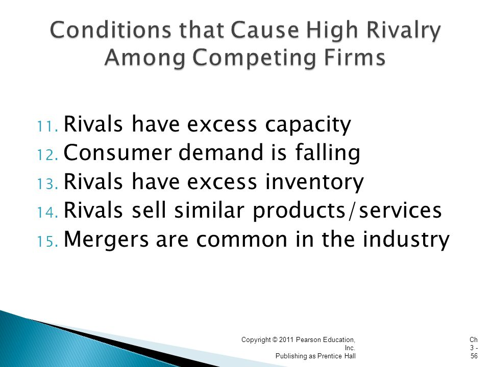 11. Rivals have excess capacity 12. Consumer demand is falling 13.
