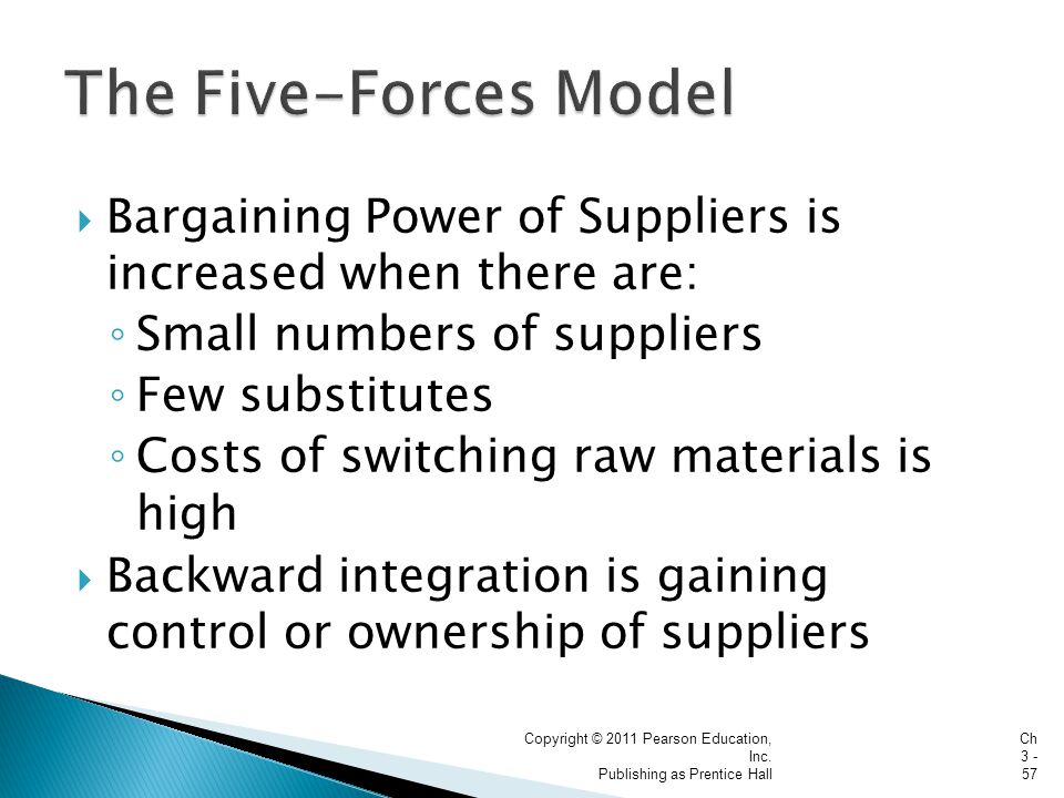  Bargaining Power of Suppliers is increased when there are: ◦ Small numbers of suppliers ◦ Few substitutes ◦ Costs of switching raw materials is high  Backward integration is gaining control or ownership of suppliers Copyright © 2011 Pearson Education, Inc.