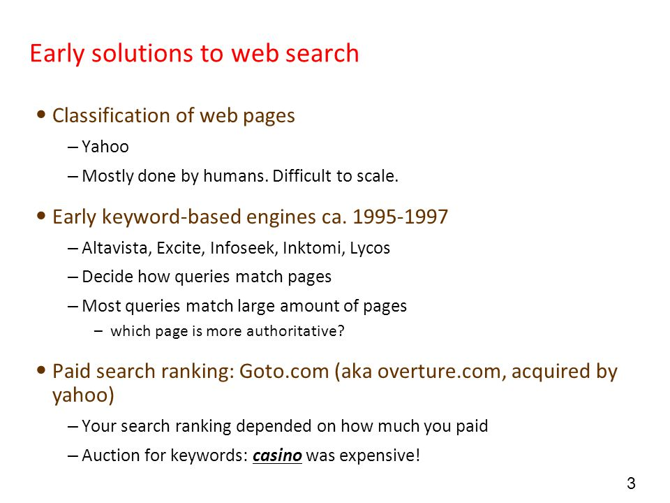 44 Web search overall picture The Web Ad indexes Web spider Indexer Indexes Search User Sec.
