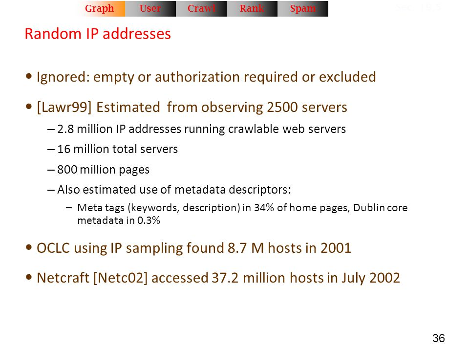 36 Random IP addresses Ignored: empty or authorization required or excluded [Lawr99] Estimated from observing 2500 servers – 2.8 million IP addresses