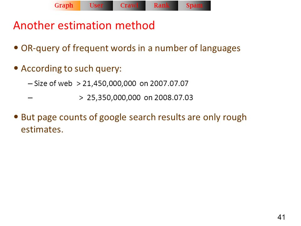 41 Another estimation method OR-query of frequent words in a number of languages According to such query: – Size of web > 21,450,000,000 on 2007.07.07