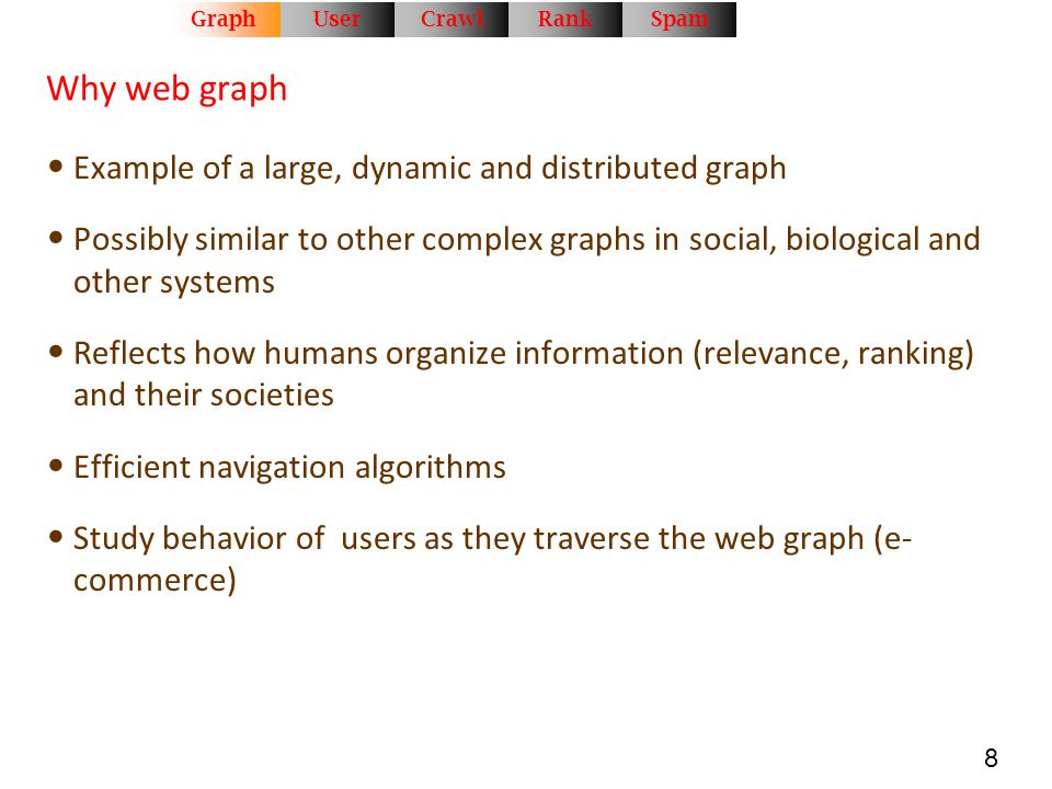 8 Why web graph Example of a large, dynamic and distributed graph Possibly similar to other complex graphs in social, biological and other systems Ref