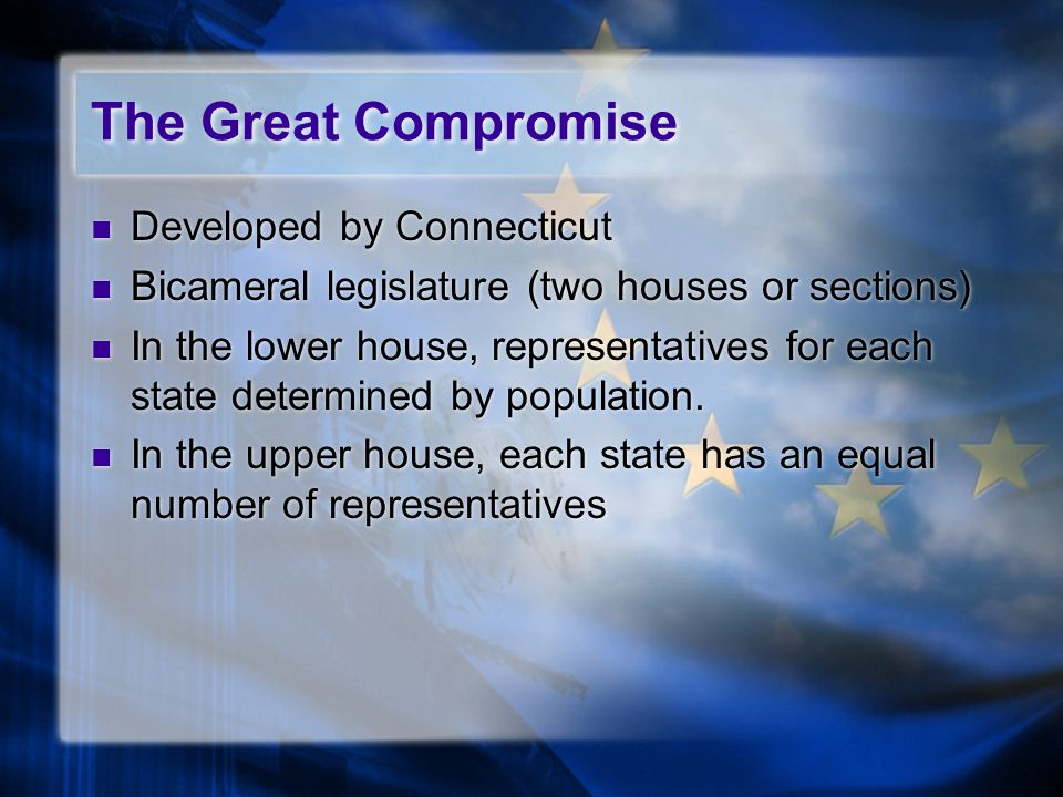The Great Compromise Developed by Connecticut Bicameral legislature (two houses or sections) In the lower house, representatives for each state determined by population.