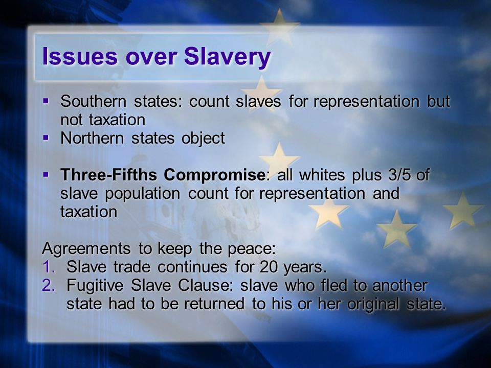 Issues over Slavery  Southern states: count slaves for representation but not taxation  Northern states object  Three-Fifths Compromise: all whites plus 3/5 of slave population count for representation and taxation Agreements to keep the peace: 1.Slave trade continues for 20 years.