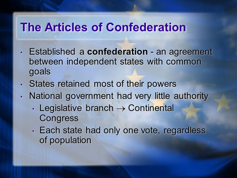 Established a confederation - an agreement between independent states with common goals States retained most of their powers National government had very little authority Legislative branch  Continental Congress Each state had only one vote, regardless of population Established a confederation - an agreement between independent states with common goals States retained most of their powers National government had very little authority Legislative branch  Continental Congress Each state had only one vote, regardless of population The Articles of Confederation