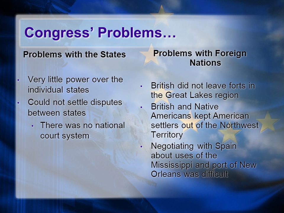 Problems with the States Very little power over the individual states Could not settle disputes between states There was no national court system Problems with the States Very little power over the individual states Could not settle disputes between states There was no national court system Problems with Foreign Nations British did not leave forts in the Great Lakes region British and Native Americans kept American settlers out of the Northwest Territory Negotiating with Spain about uses of the Mississippi and port of New Orleans was difficult Congress' Problems…