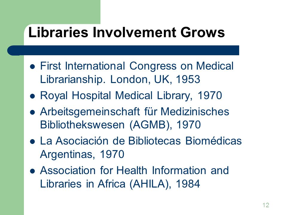 12 Libraries Involvement Grows First International Congress on Medical Librarianship.