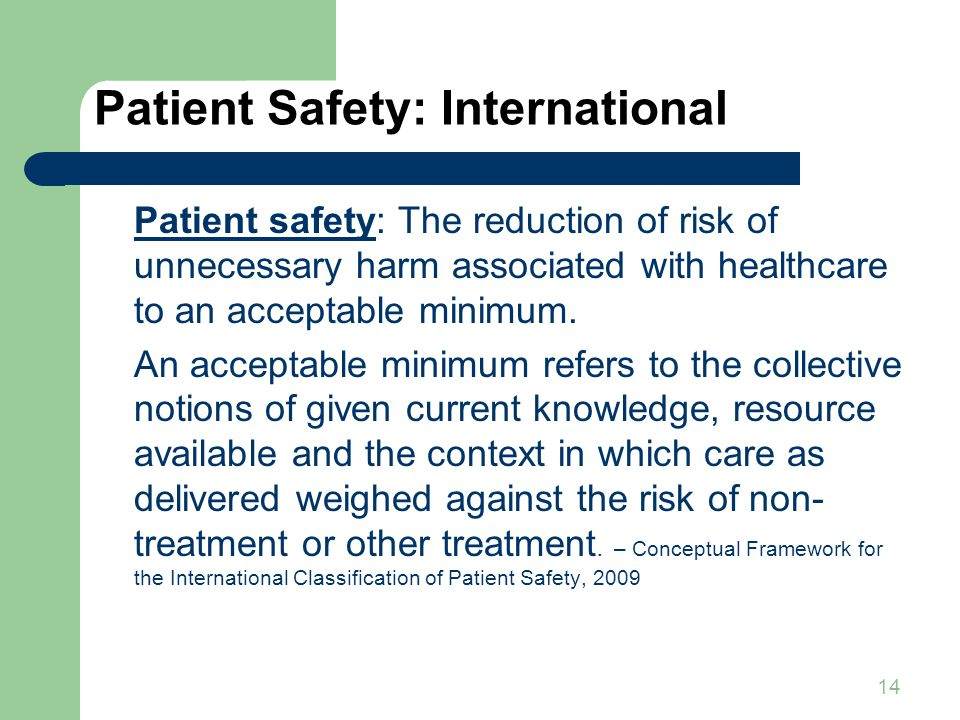 14 Patient Safety: International Patient safety: The reduction of risk of unnecessary harm associated with healthcare to an acceptable minimum.