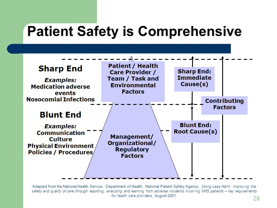 28 Patient Safety is Comprehensive Adapted from the National Health Service.