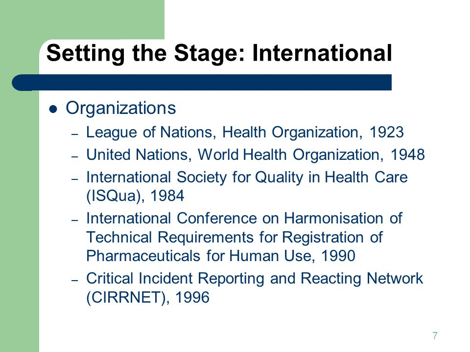 7 Setting the Stage: International Organizations – League of Nations, Health Organization, 1923 – United Nations, World Health Organization, 1948 – International Society for Quality in Health Care (ISQua), 1984 – International Conference on Harmonisation of Technical Requirements for Registration of Pharmaceuticals for Human Use, 1990 – Critical Incident Reporting and Reacting Network (CIRRNET), 1996