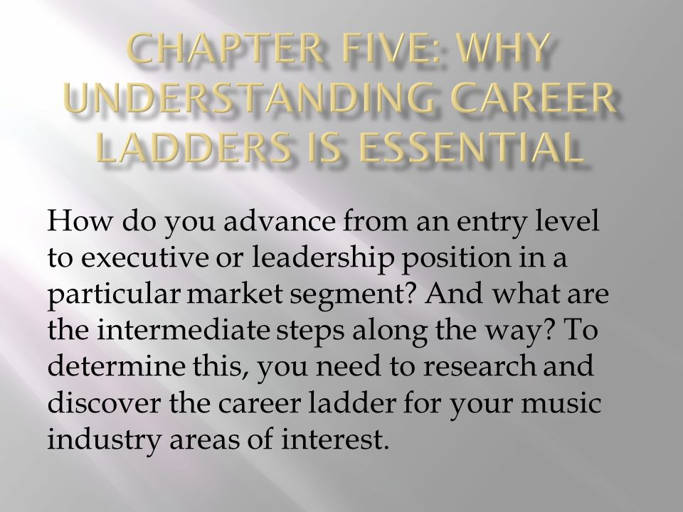 One of the best ways to fill in the various career ladders you are investigating is to speak with working professionals to learn the steps on the career ladder and as much detail as you can about the duties, responsibilities, and salary levels in that field.