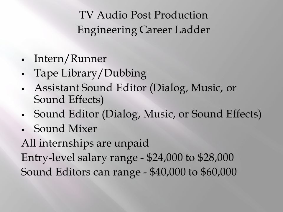 TV Audio Post Production Engineering Career Ladder  Intern/Runner  Tape Library/Dubbing  Assistant Sound Editor (Dialog, Music, or Sound Effects)  Sound Editor (Dialog, Music, or Sound Effects)  Sound Mixer All internships are unpaid Entry-level salary range - $24,000 to $28,000 Sound Editors can range - $40,000 to $60,000