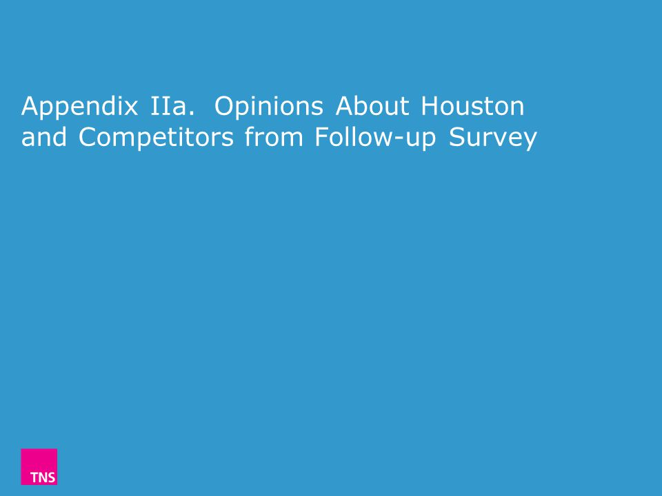 Appendix IIa. Opinions About Houston and Competitors from Follow-up Survey