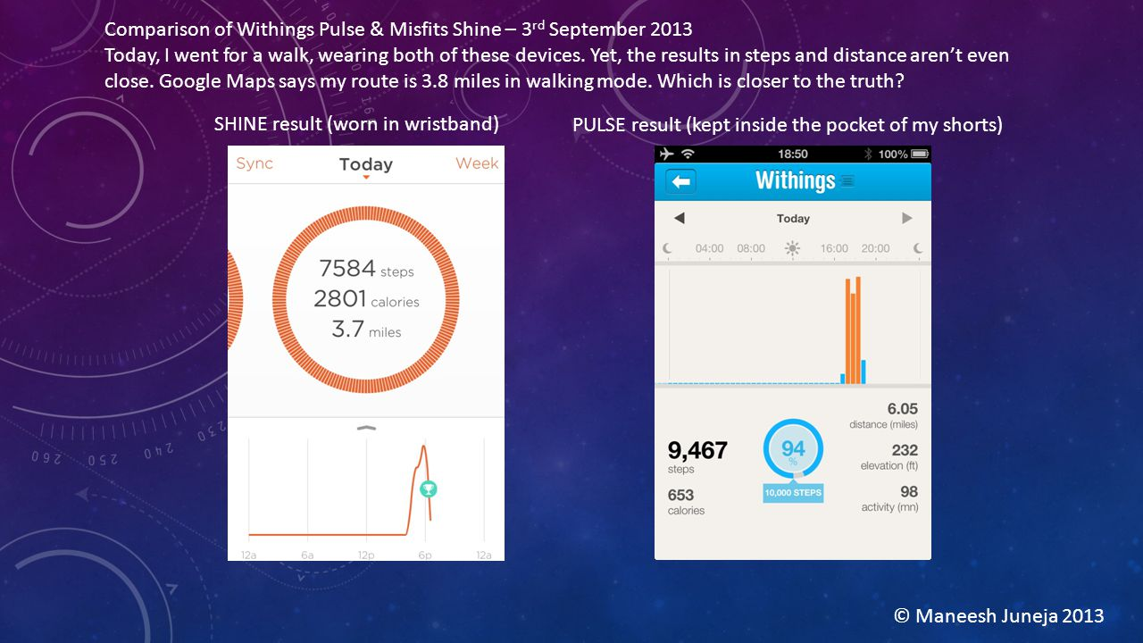 Comparison of Withings Pulse & Misfits Shine – 3 rd September 2013 Today, I went for a walk, wearing both of these devices.