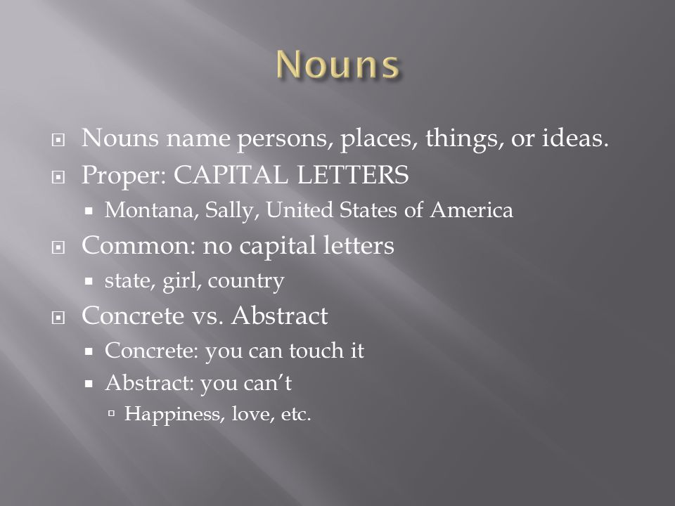  Nouns name persons, places, things, or ideas.