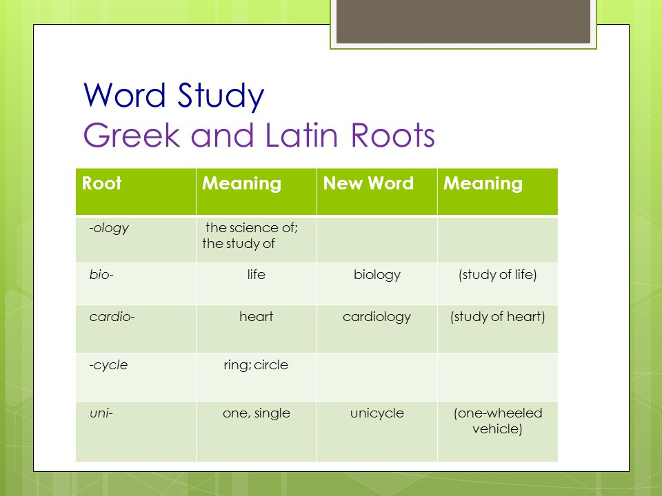 Word Study Greek and Latin Roots RootMeaningNew WordMeaning -ology the science of; the study of bio-lifebiology(study of life) cardio-heartcardiology(study of heart) -cyclering; circle uni-one, singleunicycle(one-wheeled vehicle)