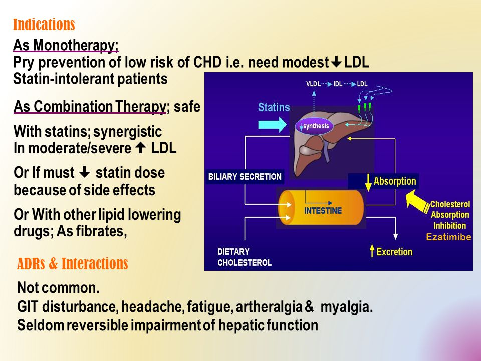 Mechanism  Is a selective C absorption inhibitor Blocks sterol transporter (NPC1L1) located on brush border of small intestine that is responsible for C translocation inside entrocytes to be esterified & incorporated in CMs  pool of cholesterol available to the liver upregulate LDL receptor, trapping more LDL particles from blood.