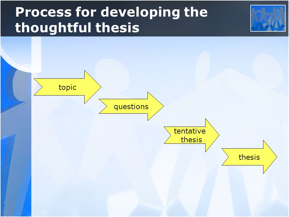 topic questions tentative thesis Process for developing the thoughtful thesis