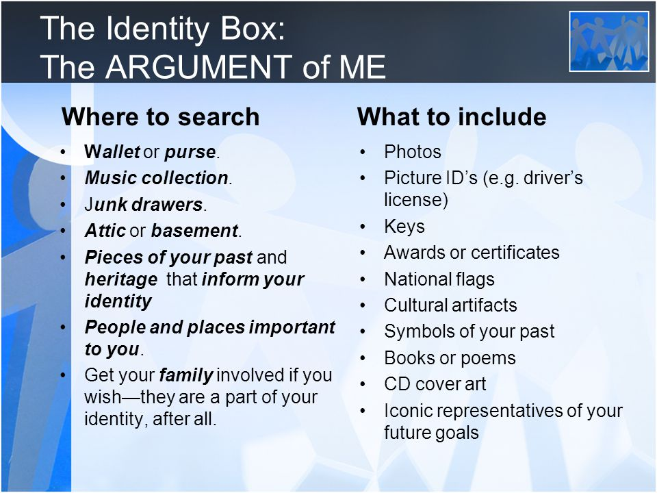 The Identity Box: The ARGUMENT of ME Wallet or purse.
