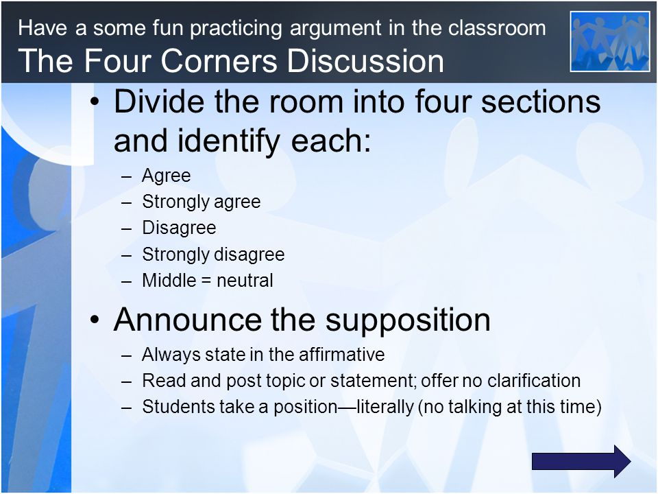 Divide the room into four sections and identify each: –Agree –Strongly agree –Disagree –Strongly disagree –Middle = neutral Announce the supposition –Always state in the affirmative –Read and post topic or statement; offer no clarification –Students take a position—literally (no talking at this time) Have a some fun practicing argument in the classroom The Four Corners Discussion