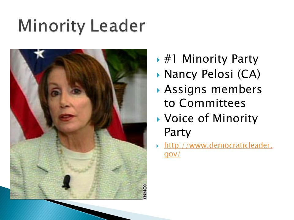  Eric Cantor (VA)  #2 in Majority Party  Assists Speaker w/Agenda http://republicanleader.house.gov/