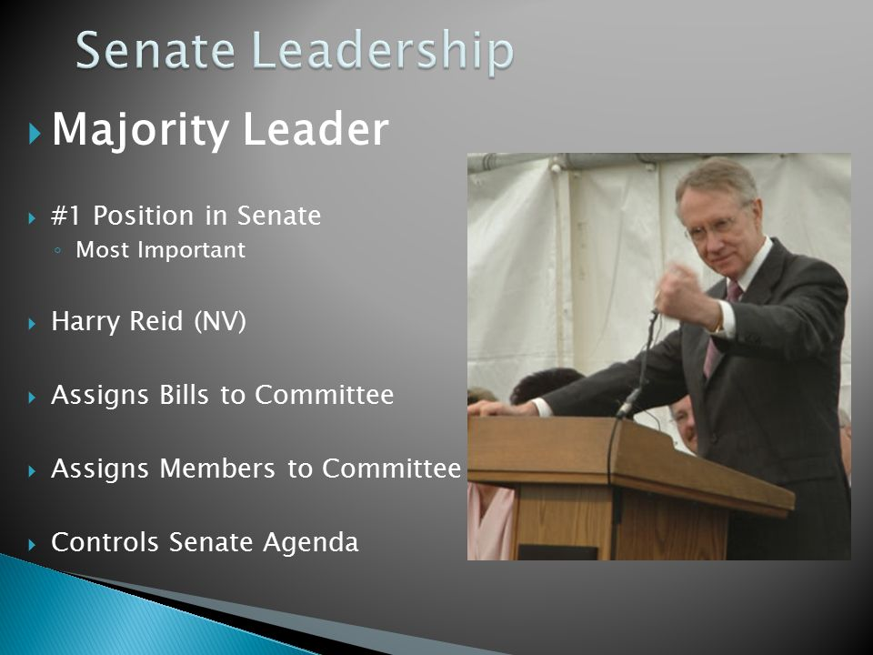  Majority Leader  #1 Position in Senate ◦ Most Important  Harry Reid (NV)  Assigns Bills to Committee  Assigns Members to Committee  Controls Senate Agenda