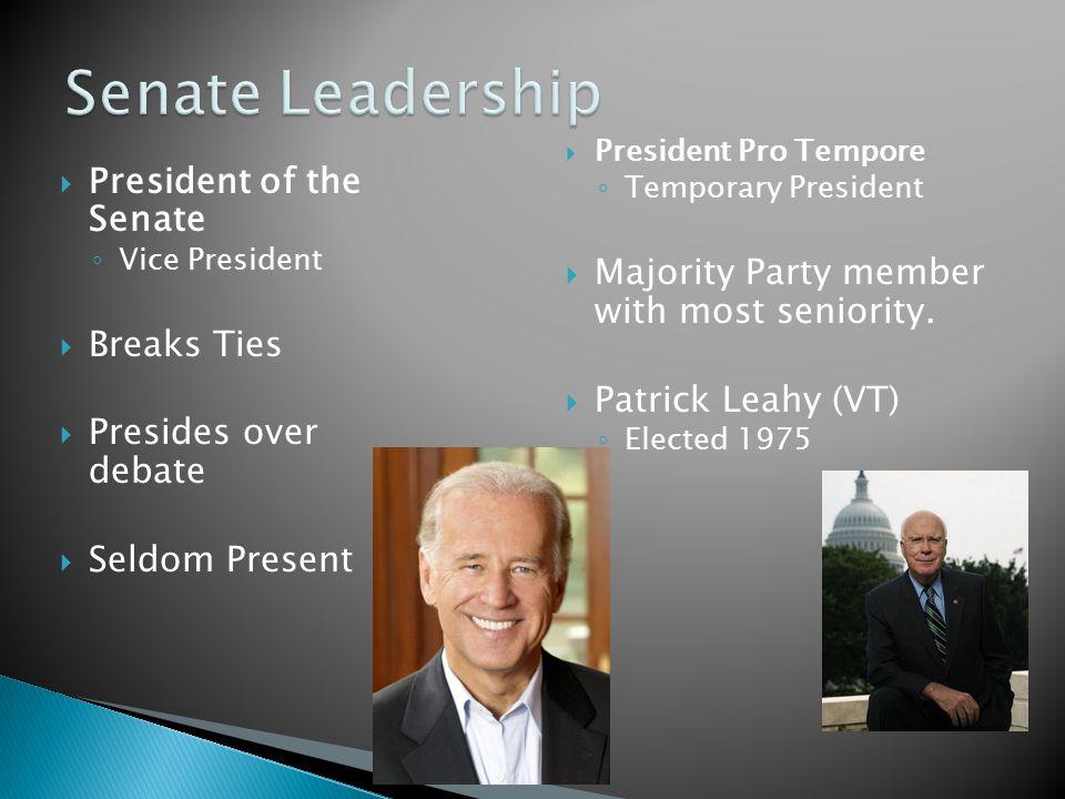  President of the Senate ◦ Vice President  Breaks Ties  Presides over debate  Seldom Present  President Pro Tempore ◦ Temporary President  Majority Party member with most seniority.