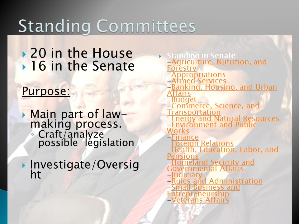  20 in the House  16 in the Senate Purpose:  Main part of law- making process.
